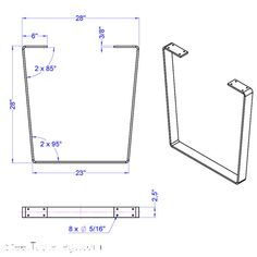 3/8 Metal Desk Leg Big Dipper 1 SINGLE by IndustrialTableLegs