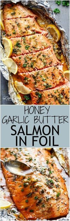 Honey Garlic Butter Salmon In Foil in under 20 minutes, then broiled (or grilled) for that extra golden, crispy and caramelised finish! So simple and only 4 main ingredients, with no mess to clean up! (Bake Salmon In Foil) Salmon Dishes, Seafood Dishes, Seafood Recipes, New Recipes, Cooking Recipes, Healthy Recipes, Recipies, Dinner Recipes, Dinner Ideas
