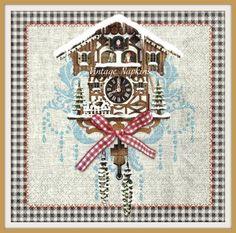 ДВА Бумажные салфетки для декупажа - Рождественские Часы с кукушкой C030