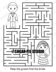 INSTANT DOWNLOAD Printable Wedding Coloring Page Activity Maze Party Favor Childrens Kids Pdf And Jpeg