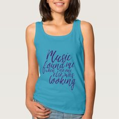 Quote on Music T-Shirt Hand Lettering Calligraphy Tank Tops