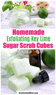 Scrub Cubes: Key Lime Scrub Bars : DIY Sugar Scrub Cubes: Key Lime- If you want to exfoliate your skin and make it shine, you have to make these key lime DIY sugar scrub cubes! They're so easy to make, and leave your skin looking beautiful! Sugar Scrub Cubes, Sugar Scrub Recipe, Sugar Scrub Diy, Sugar Scrubs, Salt Scrubs, Exfoliating Face Scrub, Exfoliate Face, Facial Cleanser, Diy Body Scrub
