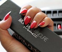 MAC Ruffian Manicure set ~ DEMOISELLE - Limited Edition, Rare by M.A.C. $39.99. MAC Ruffian Manicure sets ~ DEMOISELLE. Contain 24 nails. Cult New York designers Brian Wolk and Claude Morais of Ruffian bring their signature swagger to M?A?C with this exclusive press-on nail set. Features pointed Ruffian Red nail with white half-moon and black tips. Set includes 24 nails. Apply glue strip directly to nail accessory and press on to clean, dry nails. To remove, gently peel nail ...
