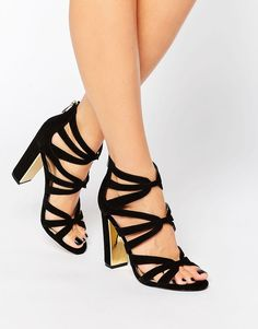 1d4527826b9d Head Over Heels By Dune Micha Gold Detail Heeled Sandals Black Strappy Shoes