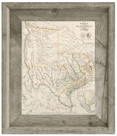 Bassett mirror us map blueprint framed graphic art products 1841 rustic framed old texas map arrowsmiths map malvernweather Images