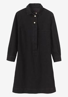 8260d478e9 Shirt dress in a weighty, stretch black denim. Short, neat collar. Bracelet