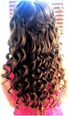Waterfall braid with spiral curls sooo cute!! Looks like Dar's hair, just need the braid ;)