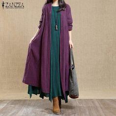 2019 Spring ZANZEA Women Casual Long Sleeve Long Jackets Vintage Open Stich Cotton Linen Coats Solid Waterfall Cardigan Vestido-JetSet-JetSet