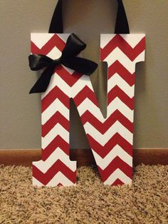 Handpainted chevron Nebraska Husker door sign by BEaBLESSING12