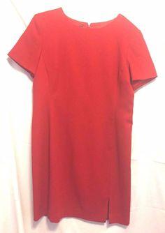J. G. Hook Red  Wool  Sheath Dress Size 16 Lined Scoop Neck Short Sleeves  #JGHook #Sheath #WeartoWork