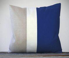 Color Block Pillow 20x20 Indigo Cream and by JillianReneDecor, $85.00