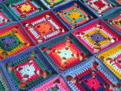 Crochet Afghan Blanket Multicolored Granny Squares by Thesunroomuk