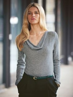 100% Cashmere Cowl Neck Solid Sweater-Cashmere 1873.COM