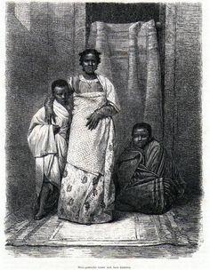 Antique print Madagascar portrait Malagasy child woman 1866 Madagaskar holzstich