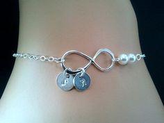 Infinity love PERSONALIZED INITIAL with Peals Bracelet - Bangle Bracelet,Friendship bracelet, Charm Bracelet, wedding bracelet. $28.50, via Etsy.
