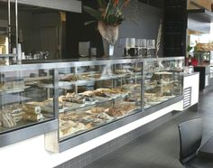 stainless steel Food Counter, Cafe Counter, Cozy Coffee Shop, Show Case, Counter Design, Bakery Design, Flower Shops, Pastry Shop, Food Shows