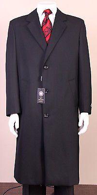 New Mens Black 100% Wool Topcoat Overcoat Long Jacket Top Coat Over Coat