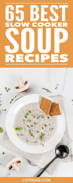 65 best slow cooker soup recipes - The best slow cooker soup recipes around, including hearty chicken, beef, or pork soups; rich seafood chowders; and tasty bean, pasta, and vegetable soups. | listnixie.com