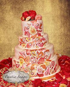wedding cake, modern, fondant, simple, elegant, paisley, Indian, India, red, yellow, pink, orange