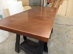 Bronzed Copper Top- having the kitchen table wrapped in this so we can add to the patina and personality of a family heirloom table we already own! Barn Table, Dining Table, Copper Top Table, Copper Interior, Home Remodeling, Olympus, Digital Camera, Furniture, Bootroom