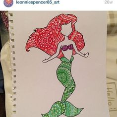 #tbt #throwbackthursday Throwback to my favourite Disney princess, Ariel  this little zentangle of her has always been one of my…