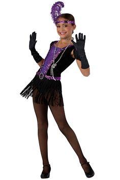 15257 Roaring 20's | Tap Jazz Flapper Dance Costumes | Dansco 2015 |  Black velvet and spandex leotard with purple sequin on spandex insert. Attached black fringe skirt. Separate purple sequin belt. Rhinestone buckle, purple sequin and black fringe trim. Headpiece and silver beads included.