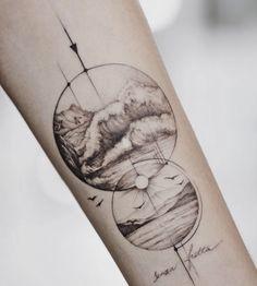 Море и горы- &; - Море и горы- &; Море и гор - Bff Tattoos, Ocean Life Tattoos, Spine Tattoos, Tattoo Life, Forearm Tattoos, Body Art Tattoos, Sleeve Tattoos, Wave Tattoo Sleeve, Navy Tattoos