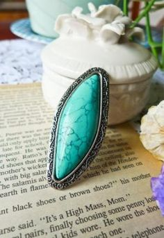 Bohemian Genuine Turquoise Ring - Accessory - Retro, Indie and Unique Fashion