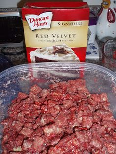 Red Velvet Cake Puppy Chow~  Ingredients:  1 cup white chocolate chips  2 Tbsp. cream cheese  2 Tbsp. milk  5 cups rice Chex  1 cup boxed red velvet cake mix  1/2 cup powdered sugar     http://unbearablygood.blogspot.com/2012/07/red-velvet-cake-puppy-chow.html