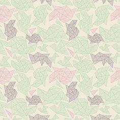 Maravillosa tela con formas que recuerda a figuras de papel plegadas, papiroflexia. De colores delicados y luminosos. TIPO DE TELA: Telapatchwork de importació