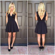 Deep V Tea & Crumpets Dress - BLACK
