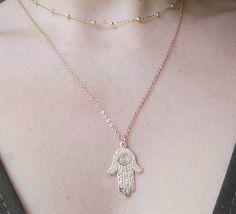 Dainty Gold Hamsa Necklace Gold Filled Hamsa by ArroseJewelry Hamsa Necklace, Gold Necklace, Pendant Necklace, Protection Necklace, Dainty Jewelry, Lucky Charm, Handmade, Stuff To Buy, Etsy
