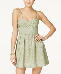 Roxy Juniors' Shore Thing Printed Fit & Flare Dress - Green XL