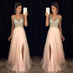 Chic A-line V-neck Floor Length Prom Dress Pink Tulle Formal Dress Evening Gowns… Chic A-Linie V-Ausschnitt bodenlanges Abendkleid Pink Tulle Formal Dress Abendkleider Sexy Formal Dresses, V Neck Prom Dresses, Cute Prom Dresses, Chiffon Evening Dresses, Gala Dresses, Trendy Dresses, Homecoming Dresses, Bridal Dresses, Evening Gowns