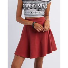 Charlotte Russe Ponte Knit Skater Skirt ($17) ❤ liked on Polyvore featuring skirts, rust, red skater skirt, red skirt, skater skirt, flared skirt and high-waisted skirts