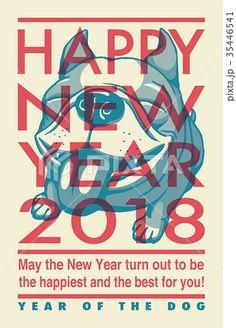 2018年賀状テンプレート_フレンチブルドッグ_HNY_英語添え書き付き Nouvel An 2018, Chinese New Year Card, Sale Flyer, New Year 2018, Dog Years, Happy New, French Bulldog, Graphic Design, Pets