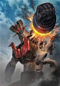 """Mazinger Z"" Artist Paolo Barbieri. Robot Cartoon, Cartoon Tv, Manga Anime, Japanese Robot, Vintage Robots, Retro Cartoons, Classic Cartoons, Robot Art, Sci Fi Fantasy"