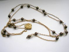 Art deco glass faceted beads long multi stand chain by badgestuff, $10.00