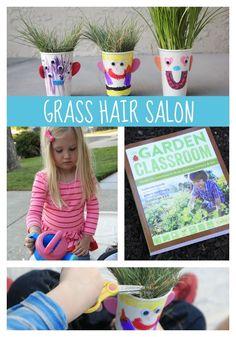 Super fun gardening project for kids - make a grass hair salon!