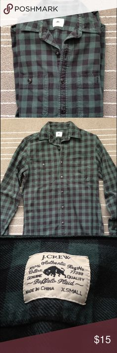 J Crew buffalo plaid green and black shirt Great pre loved worn in condition shirt. Fits  loose but perfect for fall to wear with leggings and skinny jeans. J. Crew Shirts Casual Button Down Shirts