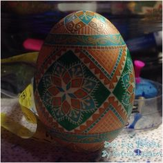 PysankyUSA's Newest Colorama Dyes on Duck Egg by Katrina Lazarev, Katt is one of PysankyUSA's test artist, she is showing the new Mallard Green, Shrimp and Brook Blue.