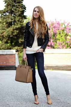 leather moto jacket, pastels, Michael Kors Selma Satchel, nude heels