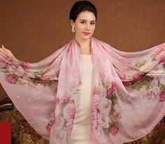 Luxusný veľký hodvábny šál v svetlo ružovej farbe