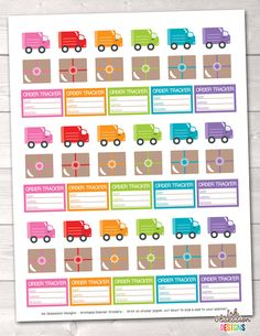 Delivery Trucks and Packages Printable Planner Stickers – Instant Download PDF for your Erin Condren Life Planner