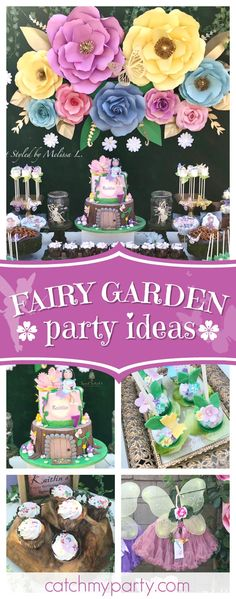 Step into this wonderful Fairy Garden birthday party. The birthday cake is amazing!! See more party ideas and share yours at CatchMyParty.com #fairy #garden