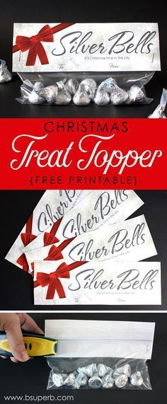 Christmas Treat Topper - Silver Bells - B Superb. - - Free printable Christmas treat toppers - Hershey's Kisses are the silver bells. Christmas Treat Bags, Christmas Party Favors, Office Christmas, Christmas Bells, Christmas Goodies, Kids Christmas, Christmas Classroom Treats, Christmas Games, Christmas Neighbor