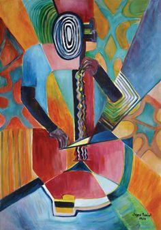 'The Cellist' (1989) - Jemilene Joyce  Daniel. Acrylic on canvas