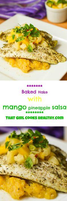 Baked hake mango pineapple salsa