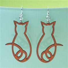Laser-Cut Wood Cat Earrings