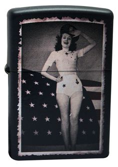 Zippo Lighter 28533 Woman Saluting Black Matte Windproof NEW